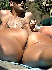 Close-ups of the hairy pussy and nude ass of a beach gal