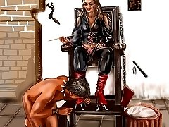 Stunning dominant art ladies train slaves with face sitting and punishments