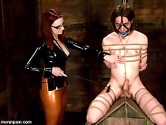 She has her hands full with two submissive sluts, but Miss Adams has enough sadism to keep them in check.  Kade is a little pain slut and takes a vicious cane and clamp scene.  He is quickly made to understand that he is indeed weak and has no control, reinforced with a  fierce ass fucking.