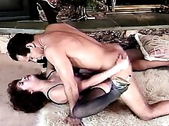 Mature slut in stockings bending over to have her furry hole fucked