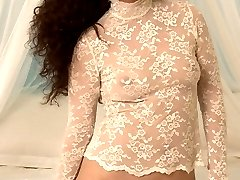 Plump Latina in see-through lace stripping and baring her wanton wool!