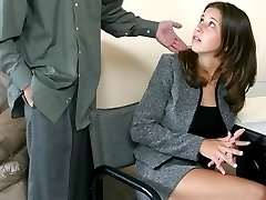 Office babe bent over the desk and spanked