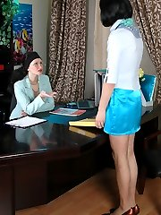 Sissy guy getting anal workout during the meeting with strap-on armed babe