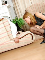 Kinky babe in silky stay ups seducing her barman into wild strap-on banging