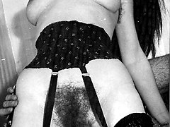 Hairy pussy filled with cock all in full b&w wonderfulness!