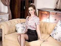 Stella is hot as hell in a tight leather pencil skirt and sexy satin blouse!