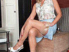 Blonde, Abi in flimsy blouse, pencil skirt, sheer panties and glossy nylons!