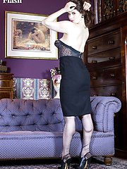 Brianna is stripping seductively to racy black vintage RHT nylons and heels!