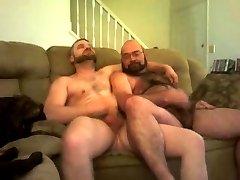 Two bears wanking on sofa