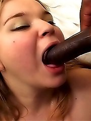 Fat-ass cutie blowjobs dicks by turns while dudes drill her juicy pussy in various poses
