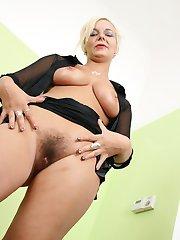 Bushy blonde babe gets her beaver boffed!