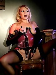 Pure blonde fits tight red latex body