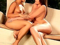 Hot teens lap and rub tight holes