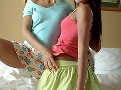 Enchanting teen lesbians Nicole and Megan licking and toying pussies and asses