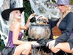 Watch 2 amazing big tits halloween fucking babe share their witch pussies and dildo fucking in...