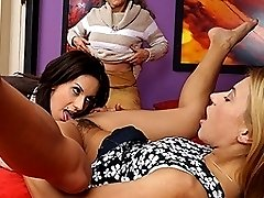 Two hot lesbian babes share one mature horny slut
