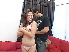 Cute brunette has her pink thong panties pulled down for a fucking