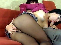 Slim-legged brunette gets banged thru her fine black sheer-to-waist tights
