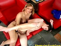 Appalling shemale and horny guy undressing for wild ass-ramming on armchair