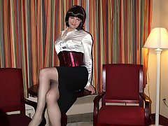 Leggy crossdresser Brigette Duprey plays up to the camera and then starts wanking her cock