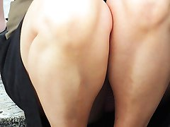 Pussy cameltoe and sexy legs upskirt