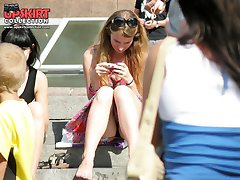 Spectacular outdoor sitting upskirts