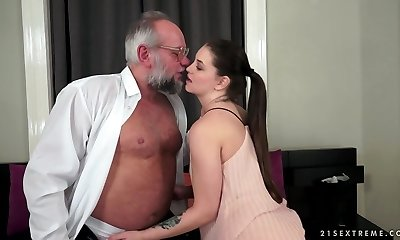 Smoking brunette with shaved pussy rides cock, gets face-fucked and takes a mouthful of cum