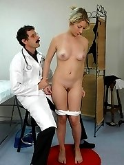 Naked teen girl gets a humiliating full body medical examination