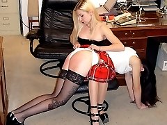 Office punishments - legs spread wide and bent over the desk for the cane - deep red stripes