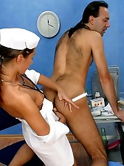 Filthy strap-on armed nurse seducing horny patient into hot fuck session
