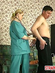 Steaming hot nurse prescribes strap-on fucking treatment for a sick guy