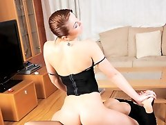 Teen in black latex pants gets pounded by bad girl in fishnets