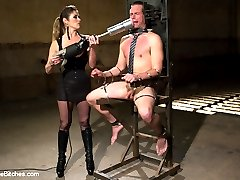 John Jammen runs his own business when outside the Armory walls but when inside he craves to submit to a strong beautiful woman. Felony loves turning out men who have to be the boss in their personal life because they need the punishment and discipline most! Felony gives John 4 rules and 4 rules only while he is in her dungeon, fuck em up and you pay the consequences! John of course breaks the rules in the first scene and who wouldn't when such a gorgeous woman like Felony is dishing out delicious pain and then sets him up for disaster with the machine powered flesh light pussy driving 100 miles on hour on his dick??!?!? John loses his load to say the least and pays for it for the rest of the day with tough suspension bondage, licking her sweaty asshole clean, being used as a cum bucket and having to drink all her squirt, whipping, clamps, cock and ball torture, strap-on ass fucking and having to look at her pussy while wearing a dildo gag and never getting a piece of it! See you next time, Johnny boy!