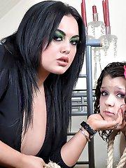 Mistress Jemstone milks Candys lactating tits and spanks ass