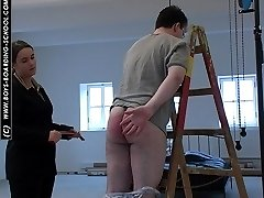 Hot burning buttocks for unfortunate guy in pain - pants down paddling