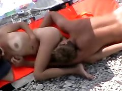 Nude Beach - Hot Erotic Couple Playing