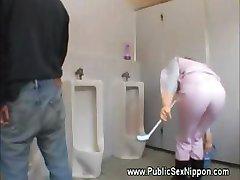 Japense cleaner loves cock at work