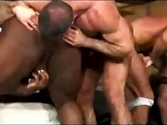 Interracial muscle men bareback orgia.