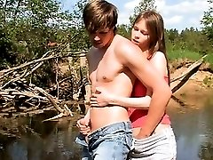 Young couple fuck by the lake