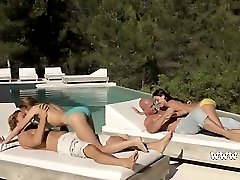 Two couples fuck together outside