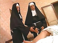 These two nuns are liking that hard cock and fucking the ass