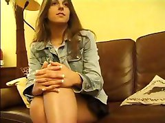 Brunette French teen is in a hot threesome with two older men