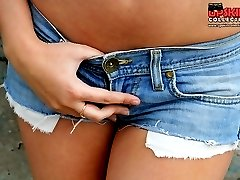 Girl wearing jeans shorts nude butt