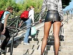 Thrilling pantyhose upskirts