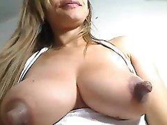 Huge nipples on milk filled breast