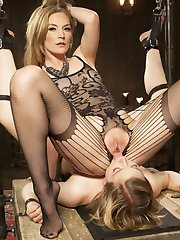 Eager submissive Ella Nova gives herself up completely to Mistress Mona Wales with suspension...