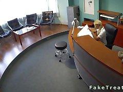 Lesbian blonde nurse licking patient