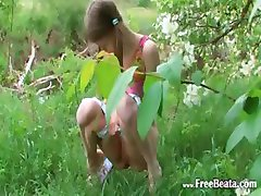 Masturbation on the green glade in euro