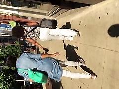 Big booty black milf in white pants 1