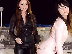 2 hot girls dressed all in leather femdom lesbian threesome